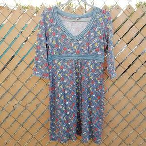 Boden Light Blue Floral Knit Empire Waist Dress